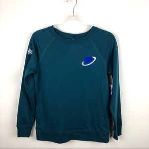 Old Navy Planet Stars Space Teal Sweatshirt NWT XS
